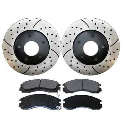 Front Kit Performance Drilled Slotted Brake Rotors & Ceramic Pads Perf6401530