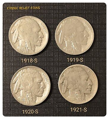 1918-S, 1919-S, 1920-S, 1921-S Buffalo Nickel. 4 Full Date Holo-restored Coins.