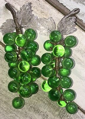 Vintage/Antique• Two Hand Blown Glass Grape Clusters• Wire Stem•