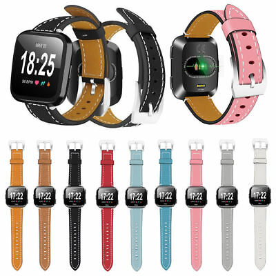 Replace Genuine Leather Wrist Watch Band Strap For Fitbit Versa Smart Watchband