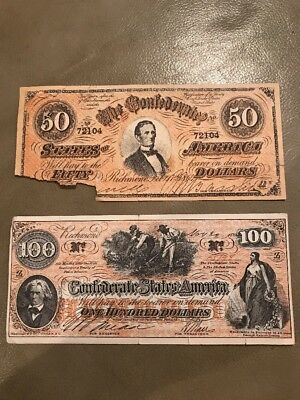 Vintage Confederate States of America $100 & $50 Civil War Currency Facsimile