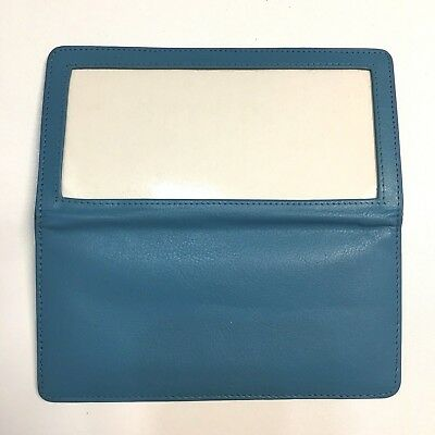 Sterling Full Grain Leather Checkbook Cover & CC Case Needlepoint Canvas Blue