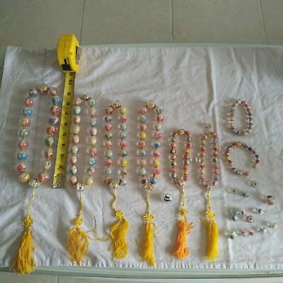 Huge Lot of Chinese Vintage Inside Hand Painted Rock Crystal  Mala Prayer Beads