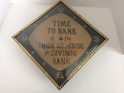 "Vintage Bubble Glass Advertising Wall Clock For Restoration ""Time To Bank"""