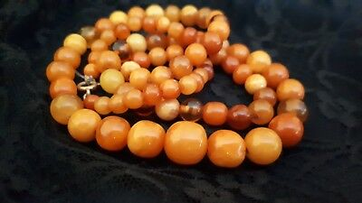 Vintage Antique Natural Baltic Amber Necklace yellow 22 gr. length 60 cm long