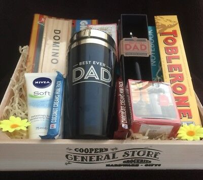 DAD BIRTHDAY GIFT Hamper Dads Travel Mug Dominoes Cards Tea Biscuits Toblerone