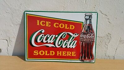 Altes 1997 Drink Coca Cola Company Werbeschild Blechschild ICE COLD SOLD HERE
