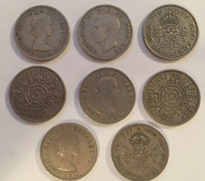 8 UK Two 2 Shillings Coins British English Pre Decimal Coins Florins