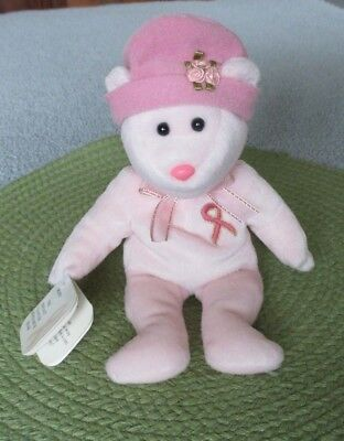 """Cute """"Hope"""" Breast Cancer Research Bear Beanie Pink Hat Nose Ribbon"""