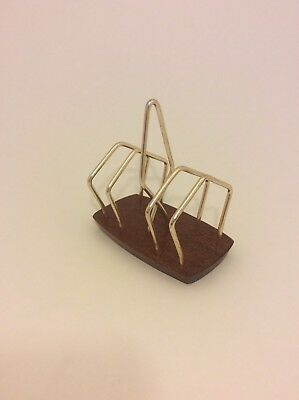 Retro Wyncraft toast rack teak and gold metal vintage collectable