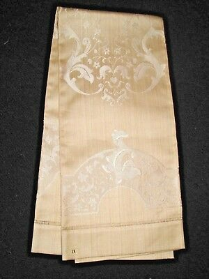 UNUSED Antique DAMASK Ecru Linen TOWEL w/ Paper LABEL Vtg Fabric Scrolls/Floral