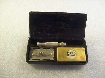 Vintage Gillette Razor Kit With Blades And Brass Razor Holder