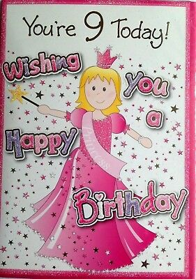 Girls YOURE 9 Today Greetings Card Wishing You A Happy Birthday Princess 9th