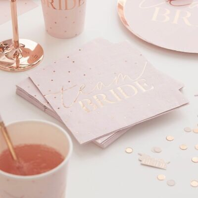 HEN PARTY Rose Gold BRIDE TO BE Luxury NAPKINS 20 Pack Team Bride Ladies Party