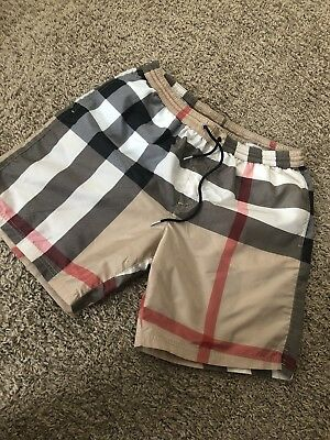 5cc8bbb81a95b New Burberry Men Shorts Plaid Nova Check Haymarket Logo Tan Beige Medium M