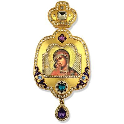 Virgin Of Tikhvin Icon Pendant w/ Crown Enameled and w/ Chain for Hanging on Wal