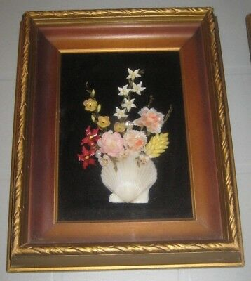 Vintage SEASHELL Vase w/ASSORTED Flower BOUQUET Wood FRAMED Wall DECOR