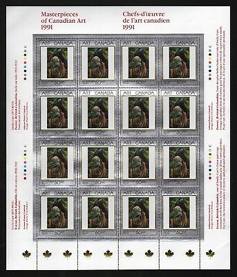 Canada 1991: Masterpieces of Canadian Art, Sheet of 16 Stamps, $8.00 FV MNH