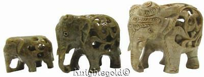 Elephants Carved Soap Stone Baby Inside Belly Vintage 90's Set 3 Bulk Lot