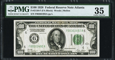 1928 $100 One HUNDRED Dollar ATLANTA Fr. 2150-F Federal Reserve Note NUMERICAL!