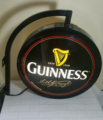Vintage Guiness Double Sided Globe Light Up Pub Sign Bar Man Cave