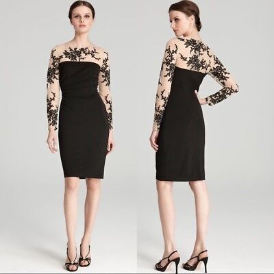 5b5a3d9466d DAVID MEISTER NWT Stretch Embroidered Fitted Illusion Lace Cocktail Dress  Sz 6