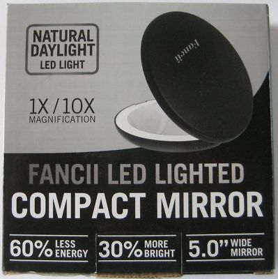 LED Lighted Travel Makeup Mirror, 1x/10x Magnification - Compact, Daylight - NEW