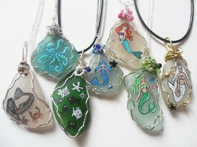 Mermaids sea creatures whale dolphin octopus - hand painted art necklace magnet