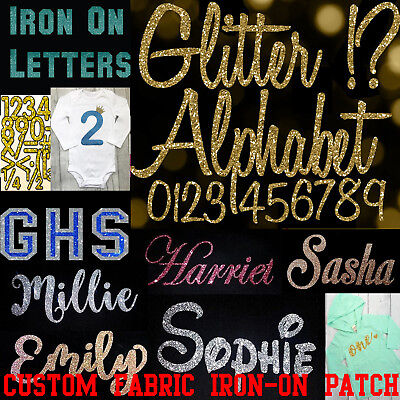❀ GLITTER YOUR NAME  CUSTOM IRON ON Heat Transfer Applique Patch ❀ Lot of Colors
