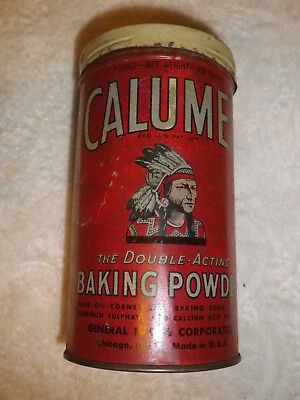 Vintage~Calumet Baking Powder~1 Pound Metal Can~Early Indian Graphic on Front