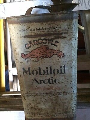 Rare Vintage MOBILOIL GARGOYLE ARCTIC 1 Gallon Oil Can Vacuum Mobil New York USA