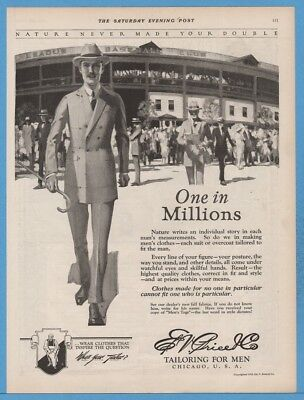 1922 Wrigley Field? Chicago Cubs Ed V Price Tailor Mens Clothing Fashion Ad