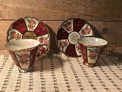 Vintage Royal Sealy Bone China Tea Cup and Saucer Set of Two