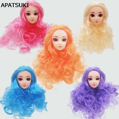 5pcs Doll's Head Wavy Hair DIY Accessories Head For Barbie Doll Head For 1/6 BJD