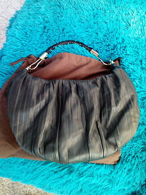 440235f103dd MICHAEL KORS Black Skorpios Crescent Pleated Leather Hobo Bag LIMITED  EDITION!