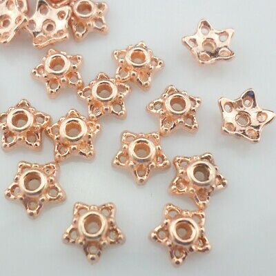 120/600pcs Alloy Rose Gold Hollow End Flower Bead Caps 7mm DIY Jewelry Findings