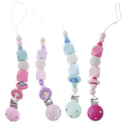 Wooden Baby Teether Dummy Clip Baby Soother Clips Chain Holder Pacifier Strap
