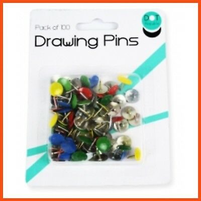 1200 x COLOURED DRAWING PINS | Office Thumb Tacks Map Cork Notice Board Push Pin