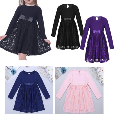Kids Girls Bowknot Lace Skater Dress Autumn Party PageantSwing Dress Casual
