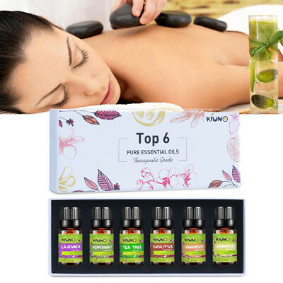 100% Pure Natural Essential Oils Set of 6 Plant Aromatherapy Kit 10ml Gift Box