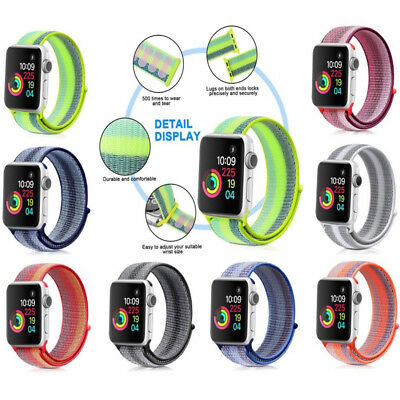 US Nylon Woven Sport Loop Watch Band Strap For Apple IWatch 42mm 38mm 40mm 44mm