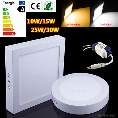 Dimmable LED Ceiling Down Light Panel Lamp 10W 15W 25W 30W Bulb Warm Cool White