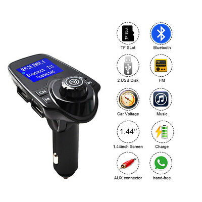 Bluetooth FM Transmitter Wireless Car Kit with Hand-Free Calling Music Player