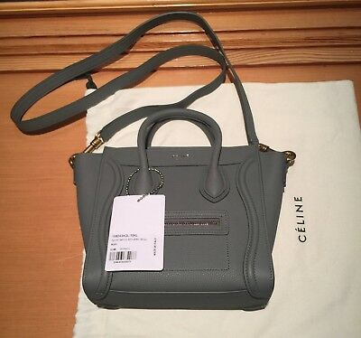 Authentic New with Tags Baby Grained Calfskin Celine Nano Luggage Bag, Kohl 333eeceebb