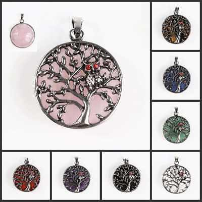 New Amethyst Tiger's Eye Opal Silver Owl Tree of Life Round Pendant for Necklace