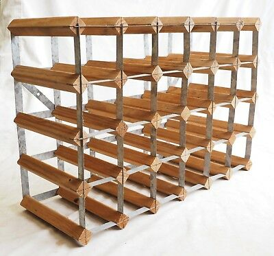 30 Bottle Wine Rack Timber Steel