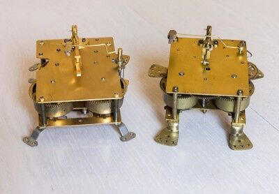 Two vintage 8 day clock movements, spares or repair