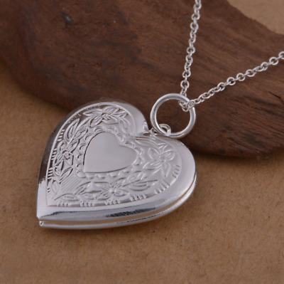 New 925 Sterling Silver   Heart Locket Charm Pendant Necklace Chain