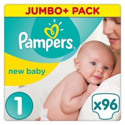 Pampers Premium Protection new baby Nappies Jumbo Pack of 96 - Size 1
