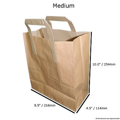 Mediumb Rown X100 Kraft Craft Paper Sos Carrier Bags Lunch Dinner Take Away